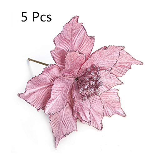 XINYI 5 Pcs Artificial Poinsettia Flower, Glitter Decorative Flowers Home Ornaments, Laege Size, 9.4x11 in, Pink