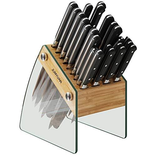 Messerblock mit 23 Schlitzen, transparent, ohne Messer, Küchenmesser-Halter, Organizer, Ständer, langlebiges Bambus-Messer-Dock Rack für Küchenbesteck, Aufbewahrungszubehör (horizontaler DIY-Stil)
