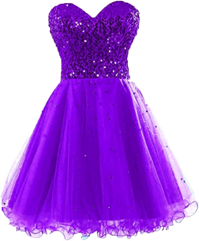 FWVR Women's Sequins Prom Dresses Short Homecoming Party Dress Off Shoulder