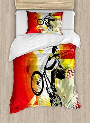 Lunarable Dirt Bike Duvet Cover Set, BMX Rider Silhouette on Colorful Background with Halftone Effect Extreme Sports, Decorative 2 Piece Bedding Set with 1 Pillow Sham, Twin Size, Black Red