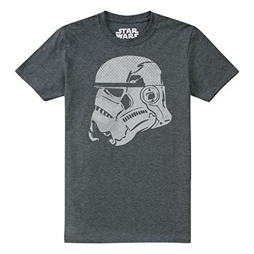 Star Wars Candid Camiseta, Gris (Dark Heather Dkh), S para Hombre