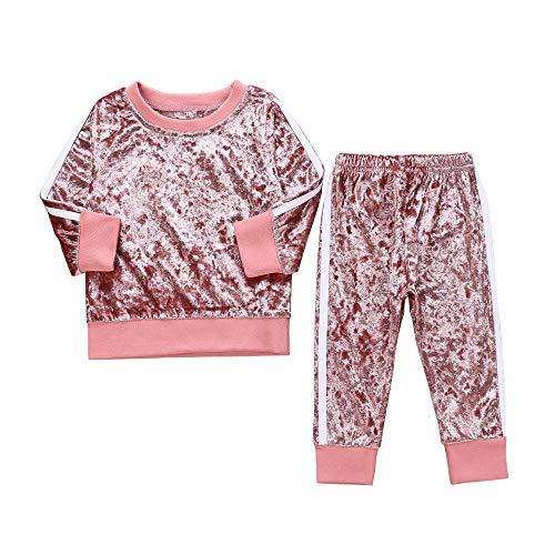 Kobay Kleinkind Kinder Baby Mädchen Jungen Langarm Solide Tops + Hosen Outfits Set Kleidung(2-3T,Rosa)