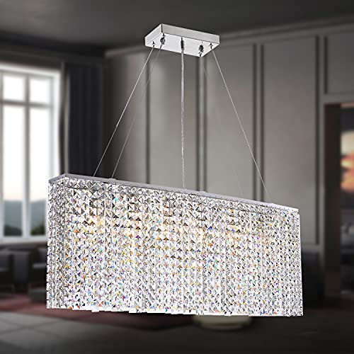 "SILJOY Modern Rectangle Crystal Chandelier Rectangular Oval Pendant Light Fxiture for Dining Room Kitchen Island L 37.4"" x W 7.9"" x H 16"""