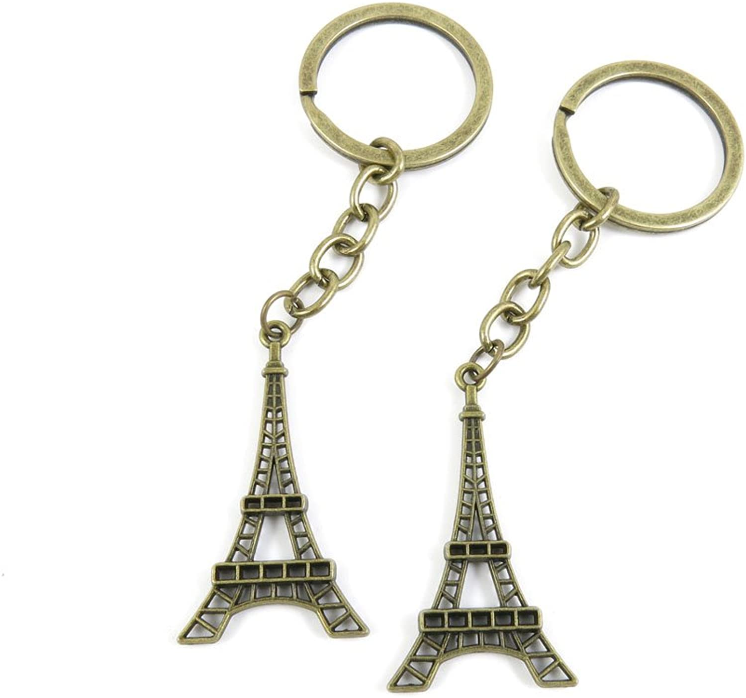 100 PCS Keyrings Keychains Key Ring Chains Tags Jewelry Findings Clasps Buckles Supplies K3BE1 Paris Eiffel Tower