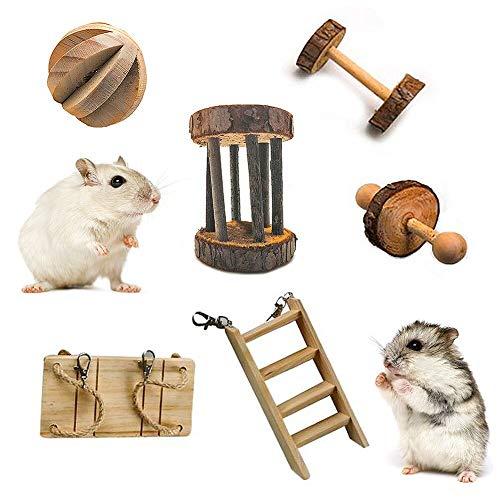 YANGDD Jouets à Mâcher pour Hamster Lot de 6 - Mâcher en Bois Naturel Soins des Dents Jouet Molaire - Hamster Cochon d'Inde Chinchilla Perroquet Gerbilles Rats