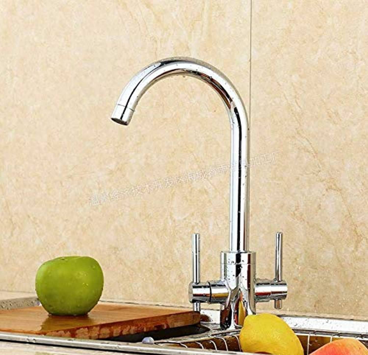 Water Taptaps Faucet Hand Wheel Kitchen Faucet Double-Connected Copper Mixed Water Faucet