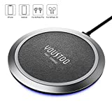 YOUSTOO Qi-Certified Wireless Charger, Leather Surface 10W/7.5W Compatible iPhone SE, 11, 11 Pro, 11 Pro Max, Xs, XR, X, 8, 8 Plus, AirPods, Galaxy S20 S10 S9 S8, Note 10 9 8 (No AC Adapter)