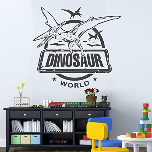 Modeganqingg Dinosaur World Amusement Park Vinilo Decorativo Vinilo Decoración del hogar Habitación Infantil Dormitorio Aplique de Dibujos Animados Gris 62x57cm