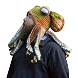 Yutone Adult Octopus Tentacle Hat, Hand-Woven Knitted Octopus Hat for Christmas Halloween Cosplay, Unique Soft and Warm, Khaki