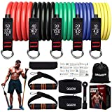 Resistance Bands Set,Exercise Bands with Handles,Training Tubes with Door Anchor & Ankle Straps for Resistance Training,Physical Therapy, Home Workouts,Stackable up to 150 lb