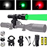 Linterna de caza con LED verde rojo blanco, luz de depredador de 350 yardas con interruptor de...