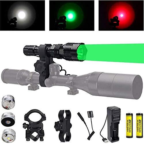 Linterna de caza con LED verde rojo blanco, luz de depredador de 350 yardas con interruptor de presión, montaje de rifle montaje de alcance para cerdos Coyotes Varmints Mapaches Coon Deer noche caza