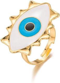 Hotaden Anelli Regolabile Oro per Le Donne Punk dell'anello della Lega Vendemmia Turco dell'occhio diabolico di Open Anell...