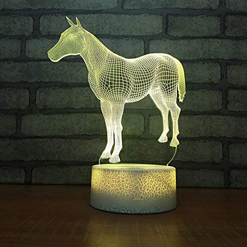 LWJZQT 3d nachtlampje paard acryl 3D-lamp cartoon mooie 7 kleuren veranderende 3D tafellampen voor woonkamer geschenken 3D kleine naad bureaulamp
