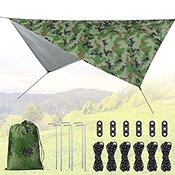 Idefair Bâche de tente de Camping, bâche imperméable de mouche de pluie pour le camping empreinte d'abri de Protection UV extérieure pour le camping en plein air sac à dos randonnée hamac (Camouflage)