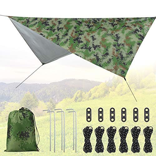 Idefair Camping Zelt Plane, Wasserdichtes Zelt Leichte Plane Shelter Hängematte Regen Fliegenblatt Outdoor UV-Schutz Shelter Footprint Für Outdoor Camping Rucksack Wanderstrand