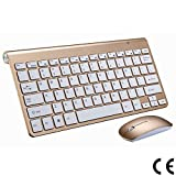 2.4G Teclado Y Mouse Inalámbricos Mini Teclado Multimedia Mouse Combo Set para Notebook Laptop PC De Escritorio TV Suministros De Oficina,Gold