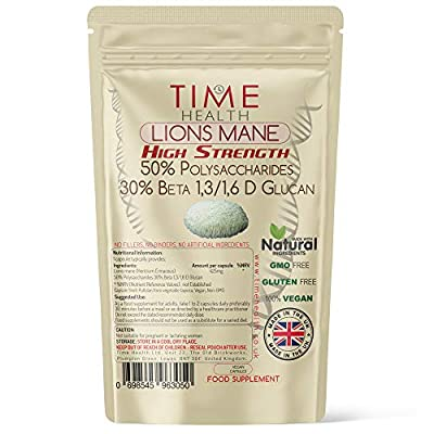 Lions Mane High Strength Extract Capsules - 60 Capsules - 50% Polysaccharides / 30% Beta 1,3/1,6 D Glucan - No Fillers, Binders or Flow Agents - 3rd Party Tested - UK Made (60 Capsule Pouch)