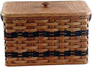 Amish Handmade Bread Box w/Lid and Leather Loop Handles (Blue w/o Liner)