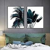 Carteles de plantas tropicales hojas de plátano lienzo pintura impresión palmera hoja arte de la pared mural de pared nórdico 50x70cmx2 sin marco