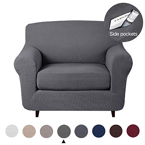 2 Pieces Microfiber Stretch Couch Slipcover Spandex Soft Fitted Sofa Couch Cover Jacquard Knitted Washable Furniture Protector with Elastic Bottom for Living Room Pet (Chair,Charcoal Gray)