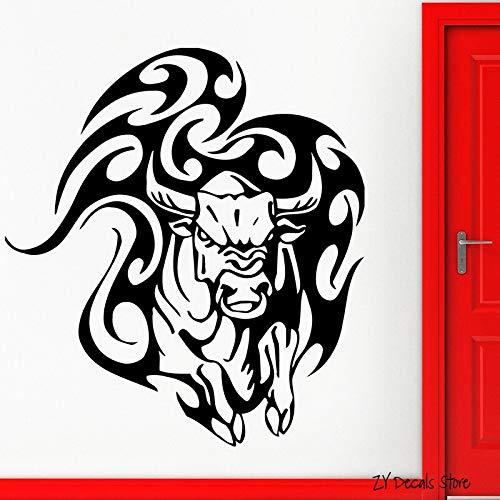 JXWH Etiqueta de la Pared del Toro Animal Tatuaje taurino Tatuajes Tribales Vinilo Enojado Vaca Pared hogar Dormitorio Sala decoración 63x70.5cm