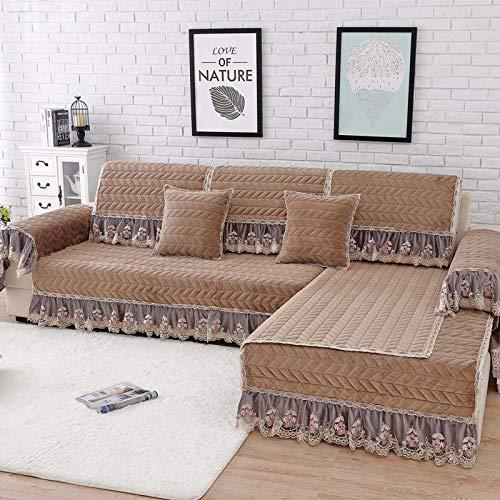 Ginsenget Sofa Cover Sofa Schonbezug 1/2/3/4 -Sitzer Sofa Cover Schonbezug Easy Fit Stoff Couch Sofa Protector Slip Cover Waschbar,Gesteppter Rock Swing Sand
