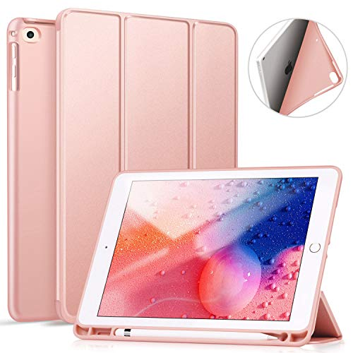 ZtotopCase iPad 9.7 Inch 2018/2017 Case with Pencil Holder - Lightweight Soft TPU Back Cover and Trifold Stand with Auto Sleep/Wake, Protective for iPad 6th/5th Generation, Rose Gold