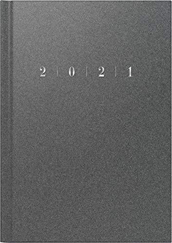 rido/idé 7023013801 Buchkalender studioplan int, 2 Seiten = 1 Woche, 168 x 240 mm, Kunststoff-Einband Reflection grau, Kalendarium 2021, mit Registerschnitt
