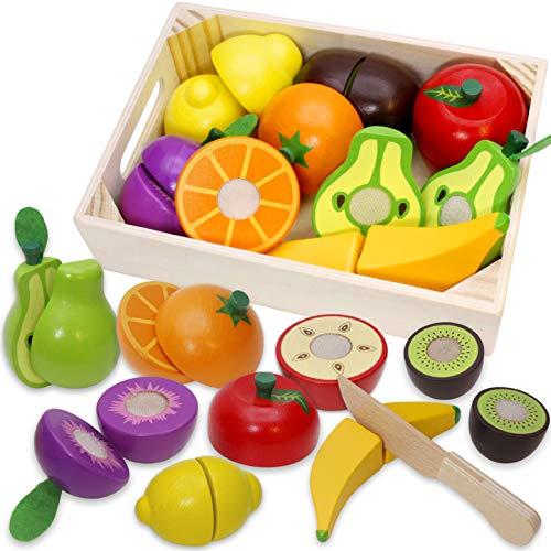 Airlab Cucina giocattolo per bambini, accessori in legno, giocattolo da cucina, per tagliare frutta e verdura, in legno, con chiusura in velcro, per bambini, giocattolo educativo