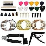 Keesin, set di 51 accessori per chitarra, strumento di riparazione per la manutenzione del...