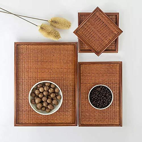 Colgando de la pared Japanese Tea Bandeja Rattan Fuera sólido bandeja de madera de madera hecho a mano bandeja de frutas placa de los cubiertos de toallas Para dormitorio, sala de estar, fondo de apar