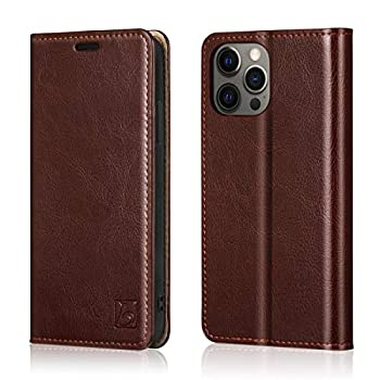 Belemay Compatible with iPhone 12/12 Pro Wallet Case 5G  6.1  2020  Genuine Cowhide Leather Folio Flip Cover [RFID Blocking] Credit Card Holder [Soft TPU Shell] Kickstand Function Folding Case Brown