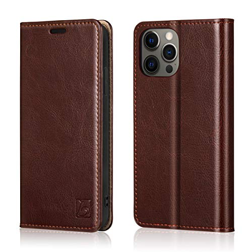 "Belemay Compatible with iPhone 12/12 Pro Wallet Case 5G (6.1"" 2020) Genuine Cowhide Leather Folio Flip Cover [RFID Blocking] Credit Card Holder [Soft TPU Shell] Kickstand Function Folding Case, Brown"
