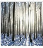 taquxinlaowan Winter Snowy Forest Sunkiss Shine Shadows Stammbäume Bild Duschvorhang