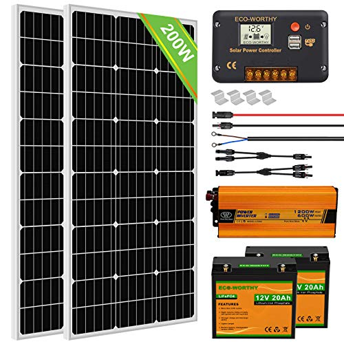 ECO-WORTHY Solar Power System for RV Off Grid Solar Panel Kit with Battery and Inverter : 2pcs 100W 12V Solar Panel + 20A Charge Controller + 2pcs 20Ah Lithium Battery + 600W Solar Inverter