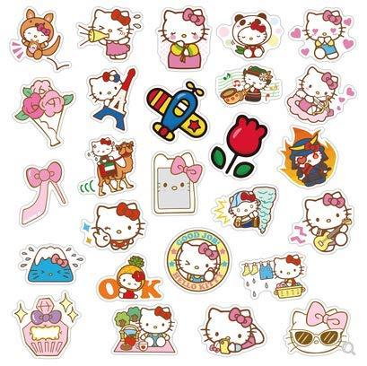 JZLMF Hello Kitty Pegatina Maleta Trolley Equipaje Maleta Pegatina Chica Mente Guitarra monopatín Color 50 Piezas