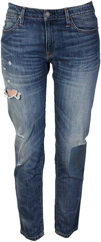 Polo Ralph Lauren Womens Astor Destroyed Patchwork Boyfriend Jeans bluee 28