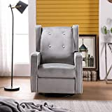 Manual Recliner Chair with Clean Lines, Solid Fame, Adjustable Backrest Manual Bedroom & Living Room Chair Reclining Chair (Light Grey)
