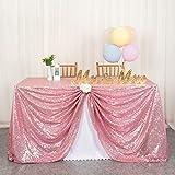 ShinyBeauty Mantel de lentejuelas-125x180cm-Tela de Lentejuelas de Oro Rosa Mantel de Fiesta de Bodas Cubierta de Mesa Brillante