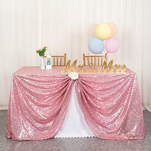 ShinyBeauty Pailletten Tischdecke-125x180cm-Rotgold Rechteck Tischdecken Glitter Pailletten Stoff Tischbezug Leinen Tischdecke (125 x 180 cm, Rosa Gold)