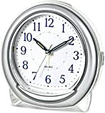 Whisper Quiet Reloj despertador de escritorio Cuarzo Mecánico Timbre Melodía Luz nocturna Snooze Barrido silencioso Segunda noche Luz Puntero Batería Fuente de alimentación 5x5.1in (Color: Rojo)-Plata