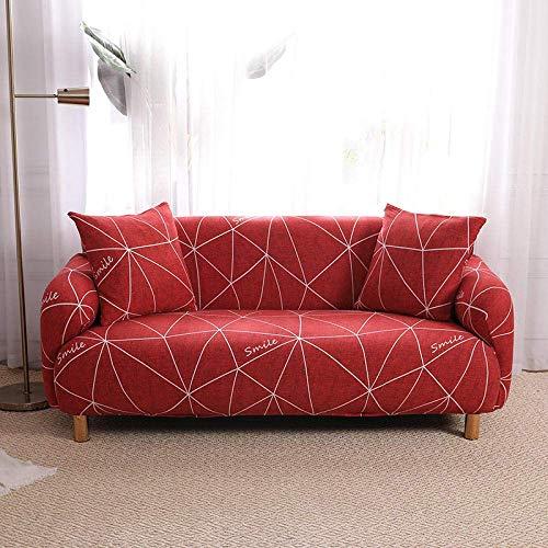 WLVG Fundas de sofá para sofá de 1 2 3 4 plazas, diseño geométrico rojo, funda elástica en forma de L, protector de sofá, cama de perro, gato, 190 – 230 cm