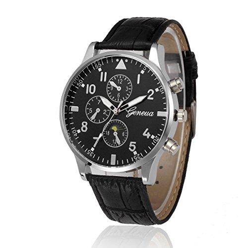 Para hombre relojes, kingwo Womens Nueva Retro Diseño Banda de cuero analógico aleación de cuarzo reloj de pulsera reloj de pulsera, multicolor