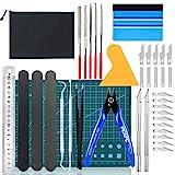 Juego de herramientas de manualidades de 39 pec | Kit de herramientas modelo Gundam | Accesorios de trazador de deshierbe de vinilo | Pinzas espátula + Alicates de estera A5 Palos de lijado