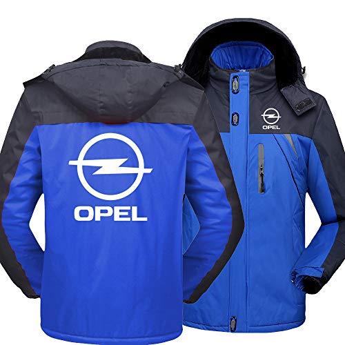 SPONYBORTY Hoodies Jacken Wasserdicht Strickjacke Plus Vlies Warm Opel Drucken Männer&Damen Beiläufig Ski Dick Mantel Klassisch/Blau/XXS
