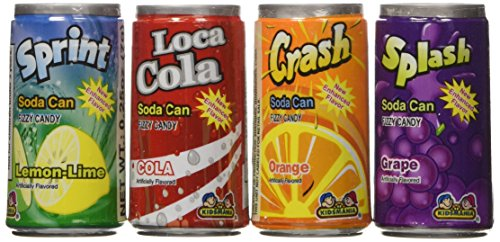 Kidsmania Soda Can Fizz Candy Variety Pack: Sprint Lemon Lime, Loca Cola, Crash Orange, Splash Grape - 0.25 Ounce, 72-Pack