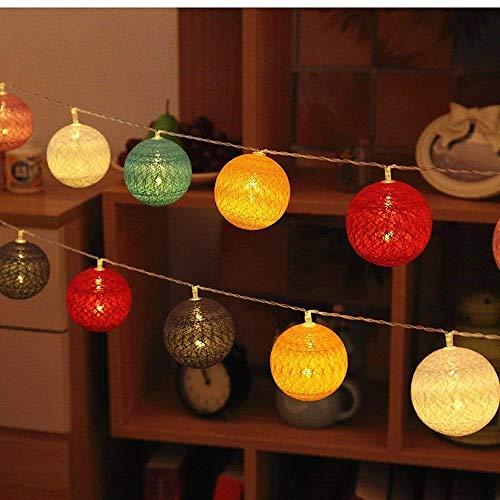 ELINKUME Bola de algodón cuerda ligera 3,3M 20LED RGB linterna luz de hadas bateria cargada luces decorativas para fiesta/boda/festival