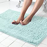 ITSOFT Non Slip Shaggy Chenille Soft Microfibers Bath Mat for Bathroom Rug Water Absorbent Carpet, Machine Washable, 34 x 21 Inches Spa Blue