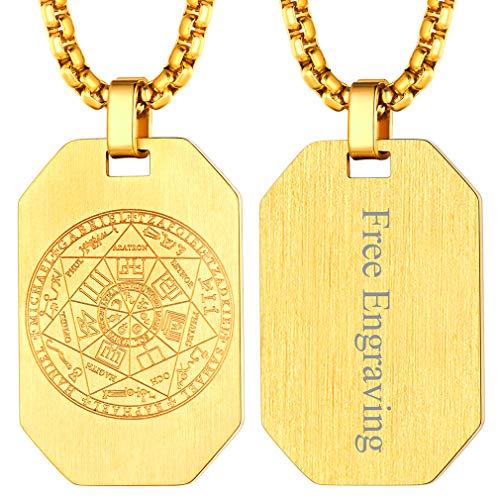 FaithHeart Sello de Siete Arcángeles Medalla Redonda Colgante Acero Inoxidable Collar Religioso Sigilo Joyería Milagrosa de Protección para Hombre y Mujer Moneda Circular